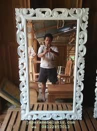 cermin ukiran duco putih cermin ukiran classic model racoco cermin