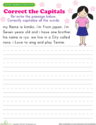 practice capitalization grammar worksheets worksheets and first