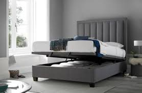Grey Fabric Ottoman Bed Buy Happy Beds Ventura Grey Fabric Ottoman Bed Frame From Our King