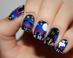 spooky graveyard halloween nails