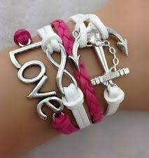 Popular Items For Love Anchors - hot retro infinity love anchor leather charm bracelet plated
