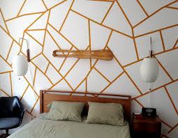 bedroom wall patterns diy project geometric painted wall design sponge