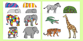 Elmer The Patchwork Elephant Story - story cut outs to support teaching on elmer elmer elmer the