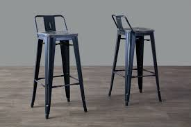 Black Bar Stools With Back Baxton Studio French Industrial Modern Bar Stool In Black Set Of
