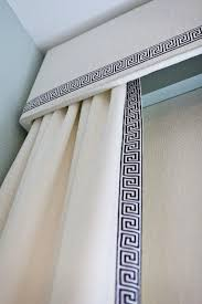 White Curtains With Blue Trim Cornice And Curtains This Idea For The Sliding Glass Window
