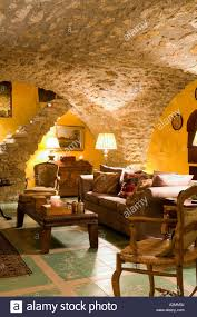 living room with vaulted ceiling sitting room with vaulted ceiling in french medieval villa stock