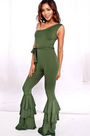 one jumpsuits olive one shoulder casual flare ruffle jumpsuit jumpsuits and