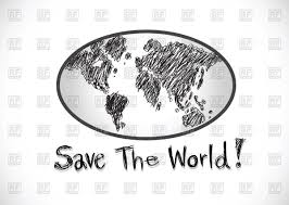 globe earth with world map sketch style vector clipart image