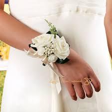 bridesmaid corsage handmade artificial pe foam flower wrist corsage pearl