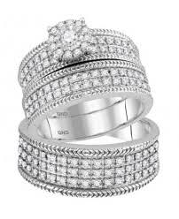 Wedding Rings Sets His And Hers by Trio Wedding Set Trio Wedding Ring Sets From Midwest Jewellery