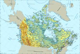 Physical Map Of Canada by