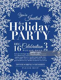 snowflake holiday party invitation template blue vector art