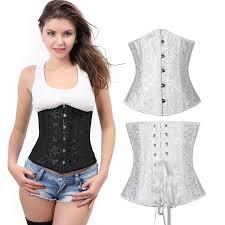 white underbust corset shaper lace up corselet
