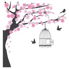 pink blossom tree wall sticker bird cage decal nursery home pink blossom tree wall sticker bird cage decal nursery home decor