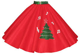 christmas tree skirt with sprinkled notes