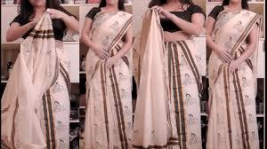 Draping Designs Two Piece Mundu Style Saree Draping Tutorial Setu Mundu Kerala
