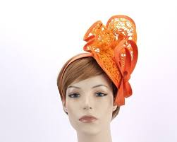 lace fascinator orange lace racing fascinator for melbourne cup derby races buy