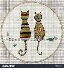 cat home decor embroidery cats zentangle style vector embroidery stock vector