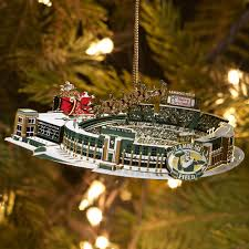 lambeau field brass stadium ornament at the packers pro shop