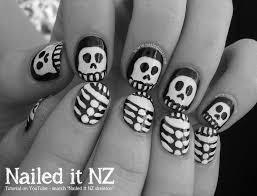 halloween skeletons nail art tutorial