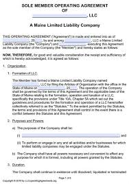 llc operating agreement template single member best resumes