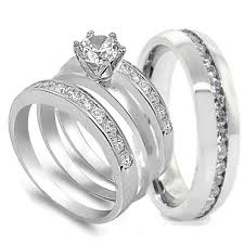 stainless steel wedding ring sets 4 pcs his and hers stainless steel wedding engagement