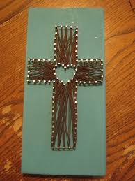 image result for string art patterns with nails cross and