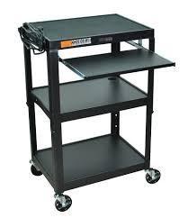 Adjustable Computer Desk Luxor Furniture Avj42kb Adjustable Compact Steel Cart Computer Cart