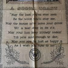 vintage linen kitchen towel new old stock a scots toast carol u0027s