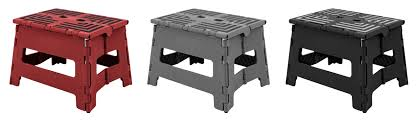 9 inch folding step stool with grip striped surface texture