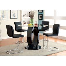 furniture of america damore contemporary 5 piece counter height furniture of america damore contemporary 5 piece counter height high gloss round dining table set black hayneedle