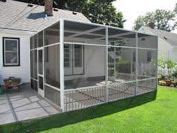 white screen porch enclosure with flat roofline and removeable