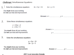 challenging simultaneous equations worksheet extension by luna123