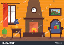 living room fireplace interior design background stock vector