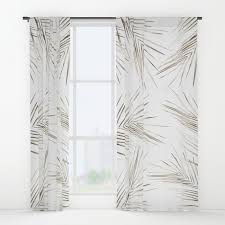 White Window Curtains White Gold Palm Leaves On White Window Curtains By Followmeinstead
