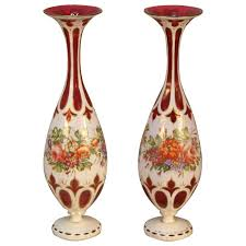Ruby Vases Antique Pair Of Ruby Cranberry Overlay Bohemian Glass Vases For
