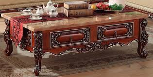 marble wood coffee table engrave retro wooden coffee table storage drawer marble top made in