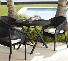 palmetto all weather wicker folding round bistro table black
