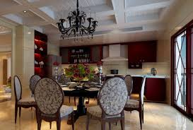 dining room luxury black chandelier on the white platformed