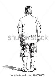 sketch standing woman pensioner back view stock vector 490604014
