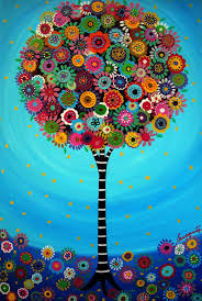 mexican folk tree of bar bat mitzvah painting by prisarts