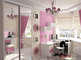cute pink girls bedroom decoration ideas with corner study desk