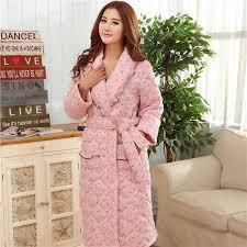 robe de chambre femme coton hiver femmes peignoirs de nuit épaississement robes de chambre pour