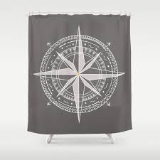 compass shower curtain nautical personalized color coastal