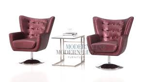 Club Swivel Chairs by Modern Vip Ready Set Of Two Purple Metallic Leather Club Swivel