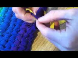 Crochet Rugs With Fabric Strips How To Connect Fabric Strips For A Toothbrush Rug Youtube