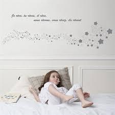 stickers étoile chambre bébé stickers tête de lit rêve gris 40 x 140 cm for jeujouet com