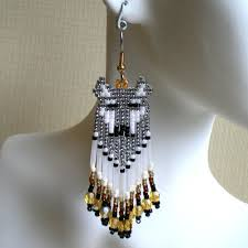 Ruby Red Long Brick Stitch Quill Look Wolf Earrings Brick Stitch Cheyenne Grey Gold