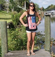 Model American Flag American Flag Tank Top With Anchor Country Shore