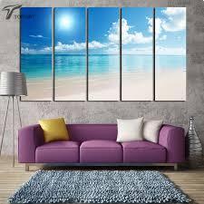 Aliexpress Home Decor Aliexpress Com Buy Canvas Wall Art White Beach 5 Panel Abstract